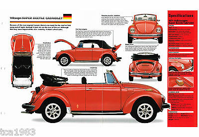VW SUPER BEETLE CABRIOLET SPEC SHEET / Brochure: 1970,1971,1972, volkswagen