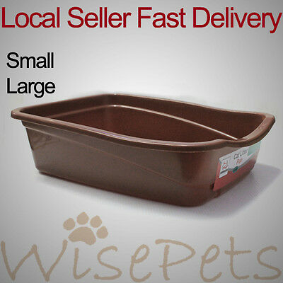 New Cat kitten Plastic Litter Training Tray Easy Access Brown Small & Large Size