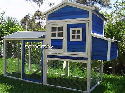 Chicken Coop Somerzby Blue Mansion Rabbit Hutch Cat Enclosure cage large run