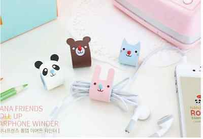 1pc Cute PU Animal Headphone Earphone Earbud Cable Cord Manage Organizer Winder