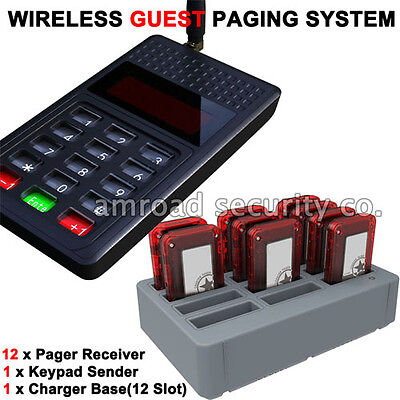 Y-P801 Wireless Guest Pager System Restaurant Calling System w 12pcs Receiver
