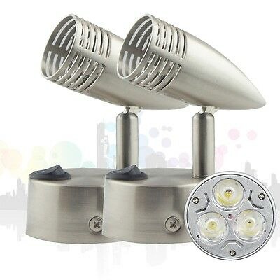 2X Cool White LED Reading Cabinet Wall Bed side Lamp Light Switch 3W bulb 12V DC