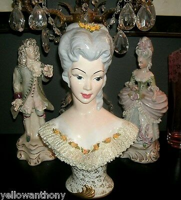 California Pottery Queen Marie Antoinette Porcelain Lace Lady Bust Figurine