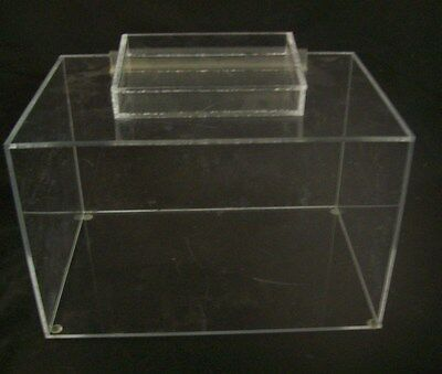 """Store Display Fixtures ACRYLIC RISER DISPLAY WITH SIGN HOLDER 9.5"""" long"""