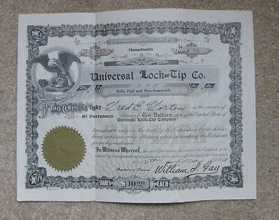 Universal Lock=Tip Co Preferred Stock Certificate dated May 12, 1928 (50 shares)