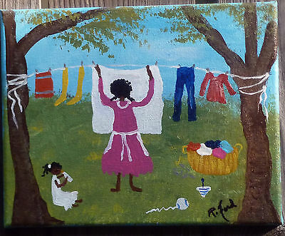 PRIMITIVE So. BLACK FOLK ART ORIG. PAINTING  by P.Ford  8x10 BLACK AMERICANA
