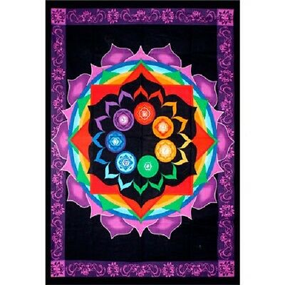 "Rainbow Chakra Tapestry 52 x 76"" Wiccan Pagan Altar Supply Decor"