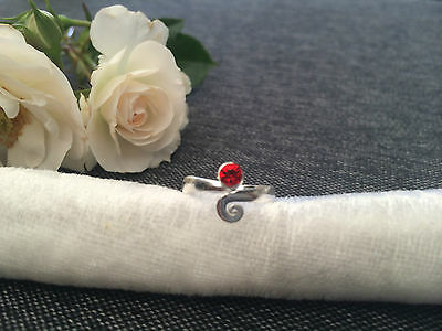 925 Silver Toe Ring - Adjustable - Ruby Red Stone