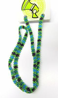 Beaded Eye Glass Cord Chain - Daisy Chain Blue Green- Handmade in South Africa