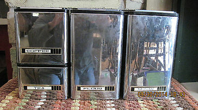 8 pc KROMEX   STACKING STORAGE CANISTERS Vintage KITCHEN RETRO USA