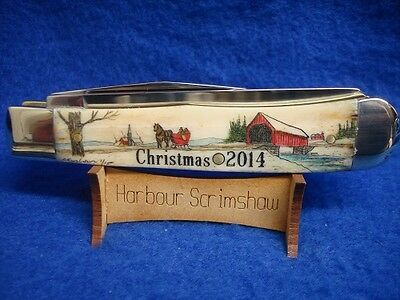 MADE IN USA KNIFE - HARBOUR COLOR SCRIMSHAW (L.E.) CHRISTMAS 2014 - BRIDGE