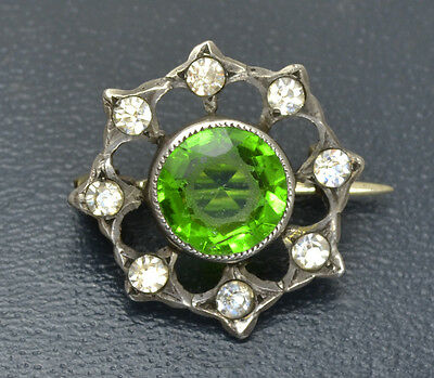Antique SMALL Victorian 800 SOLID SILVER Green & White Paste LACE PIN or Brooch