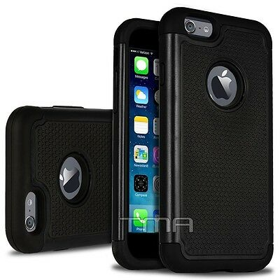Fits iPhone 6S 6 Case Shockproof Rugged Rubber Hybrid Impact Phone Cover - Black