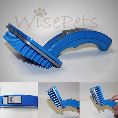 Pet Dog Cat One Touch Self Cleaning Grooming Brush Hair Trimmer Comb Plastic