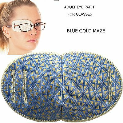 Medical Eye Patch for Glasses REGULAR BLUE MAZE Soft and Washable