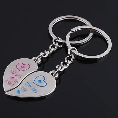 Romantic Solid Keychain Hot Sell 1 Pair Love Heart Couple Key Ring Key Fob Metal