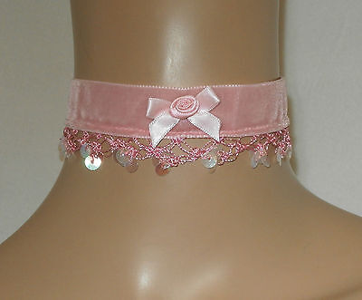 Baby Pink Choker with Sequin & Rose Trim Party Wedding Bridesmaid
