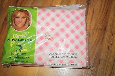 VINTAGE Pink and White Plaid Double Full FITTED Sheet in original package
