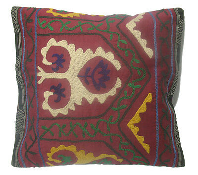 "UZBEK GIRL MADE to your SOFA ANTIQUE DECORATIVE SUZANI PILLOW 17""X18""{44cmX46cm}"