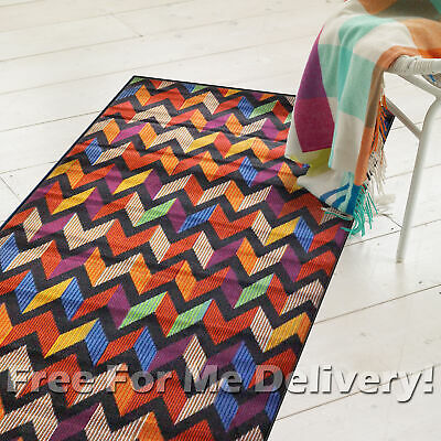 ATTICUS CHEVRON COLOURFUL MODERN FLOOR RUG RUNNER 70x350cm **FREE DELIVERY**