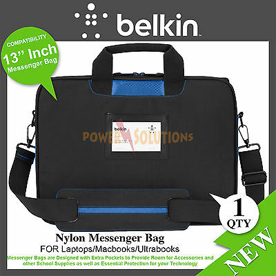 Belkin Messenger Bag for Upto 13 inch Laptops Macbooks Ultrabooks Black / Blue