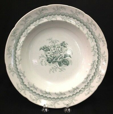 Rose and Chain green transferware soup bowl ridgway 1845 staffordshire china