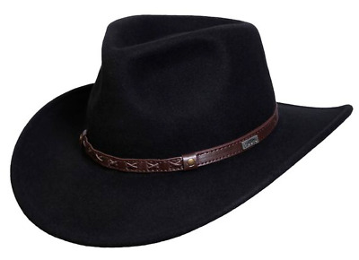 dd1e9acd7a72d NEW Conner CRUSHABLE Water Proof WOOL OUTBACK Cowboy Hat Black 3