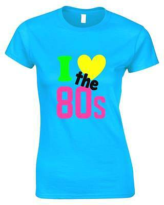 I LOVE THE 80s Ladies T-Shirt 6-16 Outfit Fancy Dress Costume 80's Party Neon
