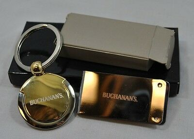 NEW IN Box Buchanan's Whiskey Key Chain Holder & Money Clip Silver Gold Leather