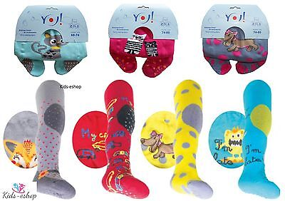 Baby Girls Crawling Terry Tights Rubberised Knees Anti Slip ABS Sole 6-12-24M