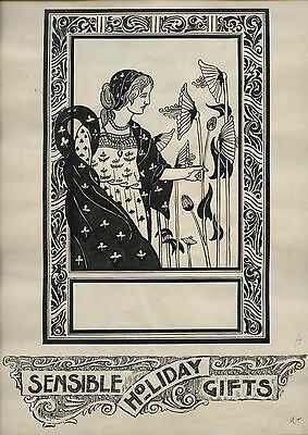 1910~Superb Original Art Nouveau Drawing~Signed By Artist With Tragic End