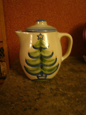 M. A. Hadley Handcrafted Coffee Pot/Pottery/Christmas Tree Design/NEW/Signed
