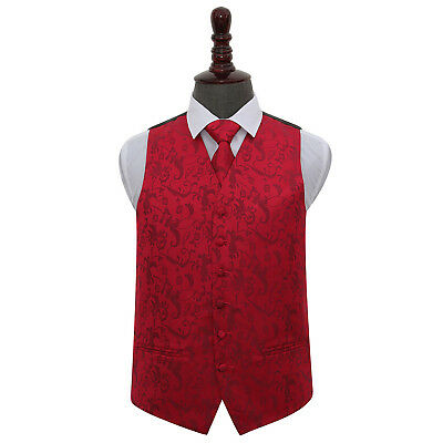 New Dqt Passion Burgundy Men's Wedding Waistcoat & Tie Set