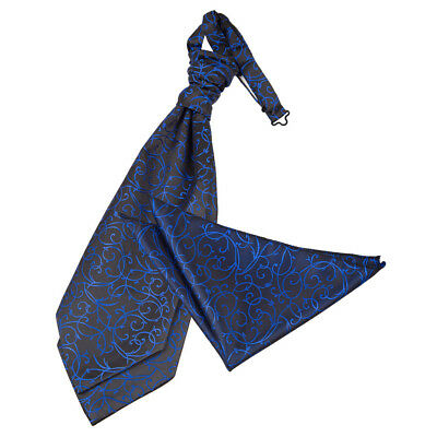 New Dqt Swirl Men's Scrunchie Wedding Cravat & Hanky Set - Black & Blue