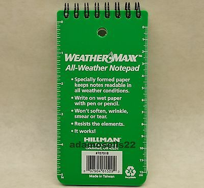 3pk WEATHERMAX ALL WEATHER 6x3 NOTEPAD SPECIAL PAPER REMAINS WRITABLE READABLE
