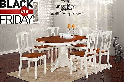 Valleyview 5 Piece Oval Dining Set - 100% HARDWOOD - Buttermilk and Saddle Brown