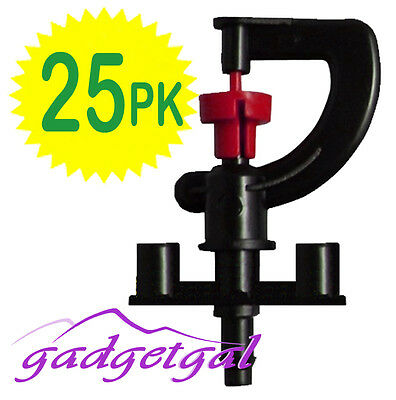25 Pk of RED G Shaped 360° MICRO Sprinkler Irrigation for Poly Watering System