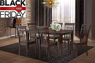 Nestow 7 Piece Rectangular Dining Set, 100% HARDWOOD-Mahogany