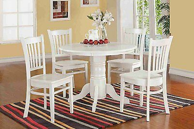 Morley 5 Piece Round Dining Set, 100% Hardwood-White