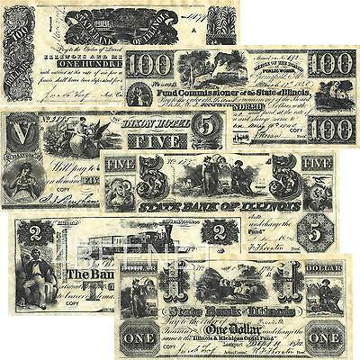 pre CIVIL WAR - ILLINOIS replica currency 6 NOTE SET new prints LOOK & FEEL OLD