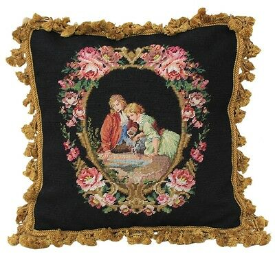 """18"""" Victorian Couple of Lovers In Floral Garland Needlepoint Petit Point Pillow"""