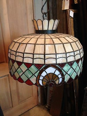Lt Two Antique Stained Glass Hanging Fixture