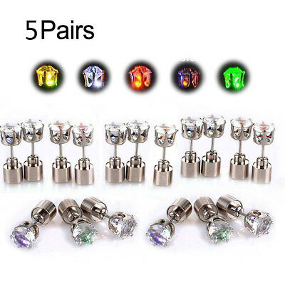 9 Pairs LED Glowing Light Up Change Color Earrings Studs Dance Party Accessory