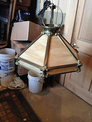 Lt For Art Nouveau Brass And Stained Glass Antique Light Fixture