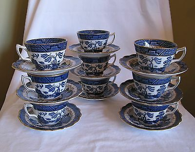 Vintage Booths England Real Old Willow 9 Cup & Saucer Sets A8025