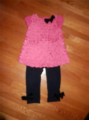 First Impressions Baby Girl Red Rosette tunic and Leggings Set ~12 month Holiday