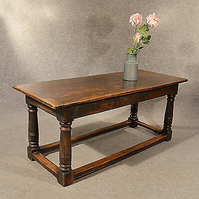 Antique Refectory Dining Kitchen Table Solid English Oak Top Quality c1800