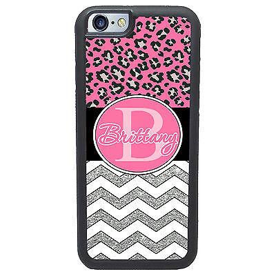 Personalized Pink Cheetah Chevron Glitter Monogrammed Case For Iphone 6 6 Plus