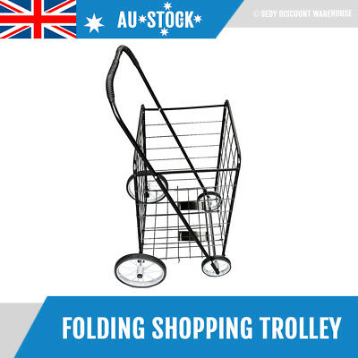 60cm Large Foldable Shopping Trolley Portable Cart Collapsible Folding Basket