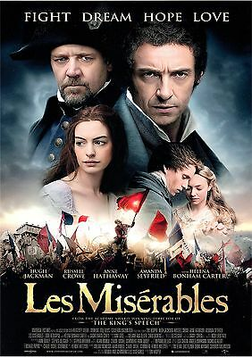 Les Miserables - Hugh Jackman - Russell Crowe - A4 Laminated Mini Poster